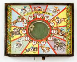"""Items such as this circa 1930s Kentucky Derby dice game can be seen in the Kentucky Derby Museum's 2014 exhibit """"Horse Play,"""" featuring toys and games related to the Kentucky Derby and Thoroughbred racing."""