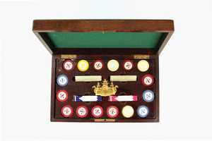 This poker set belonged to long-time Churchill Downs executive Matt Winn, who is often credited with making the Kentucky Derby the international event it is today.