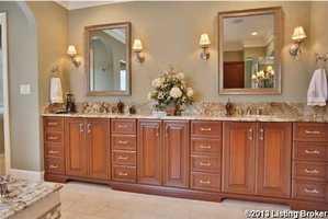 Expansive dual vanity sinks.