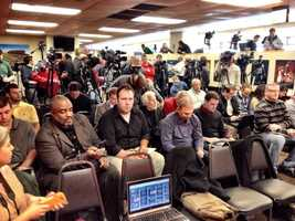 Members of the media gather at Bobby Petrino introduction.