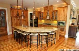 Beautiful, large eat-in kitchen with huge island.