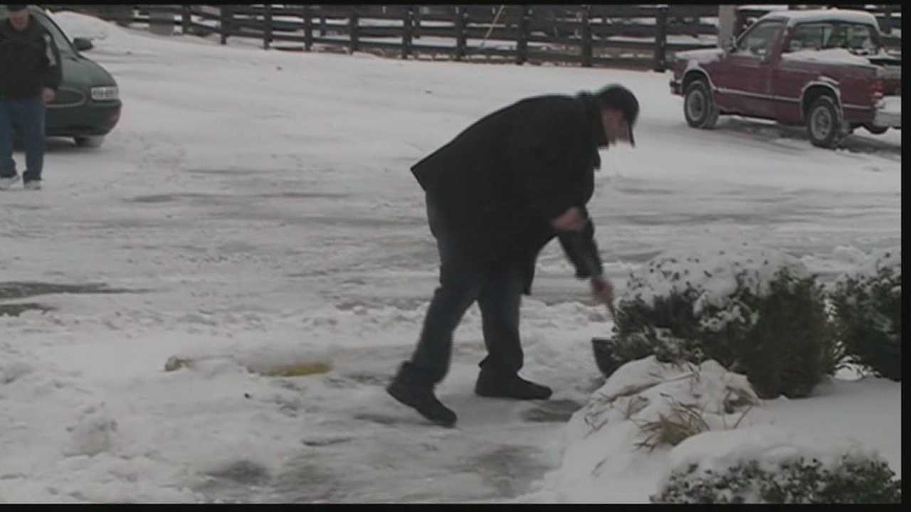 The snow plows spent all Tuesday working to clear the roads, but places like Oldham County are still dealing with slick spots.