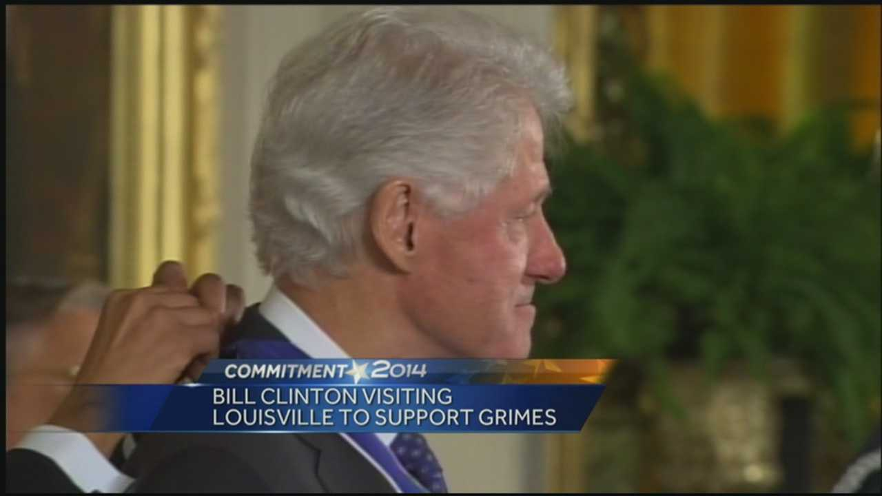 Former President Bill Clinton is in Louisville Tuesday campaigning for Alison Lundergan Grimes.