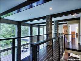 Bold wooden planks along the vaulted ceiling.