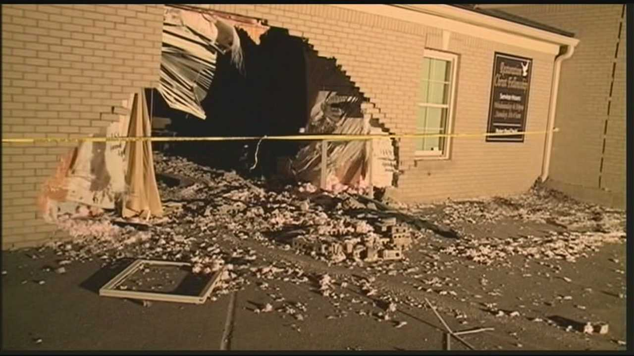 Cleanup is underway after a car slams into a church on St. Andrews Church Road.