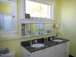 Dual sinks in this master bathroom.