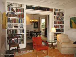 Beautiful, built-in bookshelves in this spacious family room. This area could also serve as an office space.