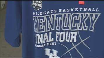 University of Kentucky Wildcats fans a snapping up official fan gear ahead of Monday's National Championship game.