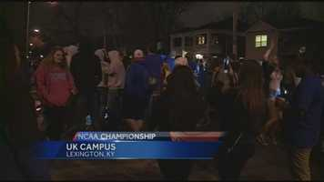 Lexington officials reported fires and injuries in post-game activities after UK's loss to UConn in the national championship game.