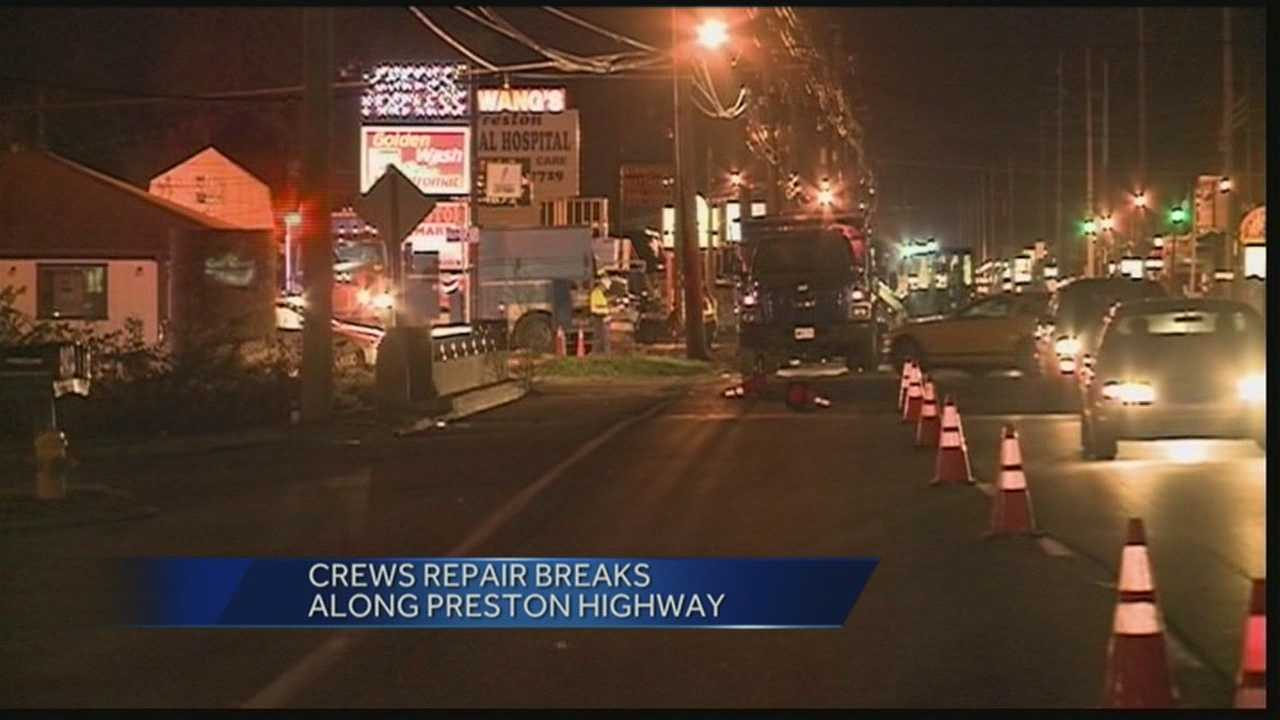 Many customers are without water after a water main break along Preston Highway.