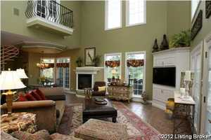 As you can see, a second- story balcony looks right over into the family room.