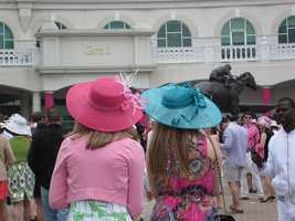It was a little chilly on Oaks Day. Lots of sweaters and jackets covered our new pretty dresses.