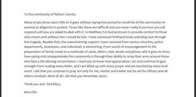Sept. 5, 2013: Amy Ellis writes a letter to thank the community for its support.