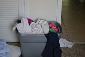 9. MacGyver Moment 3: Rubbermaid used for groceries turns into laundry hamper.
