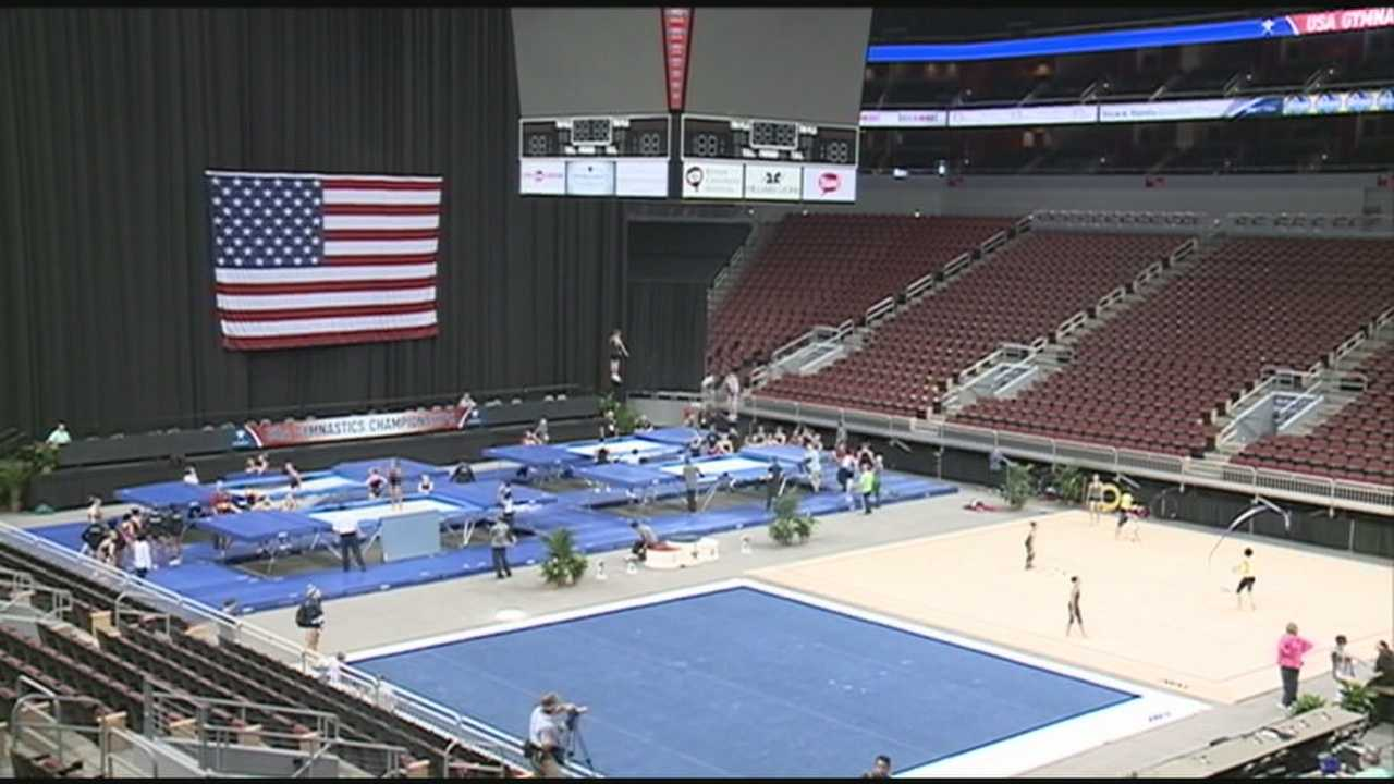 Gymnasts in Louisville for national championships