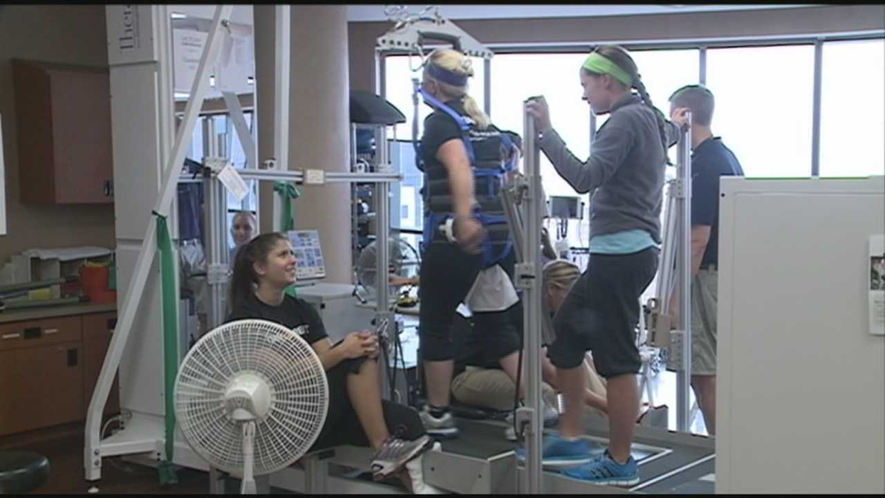 An event is held at the Frazier Rehab Institute on Saturday to demonstrate advancements in the treatment of spinal cord injuries.