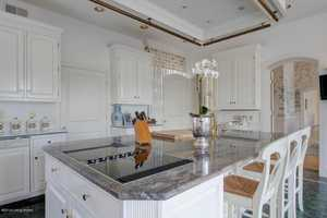 The cooking island includes a generous area to prepare and serve meals, plus an abundance of custom cabinetry.