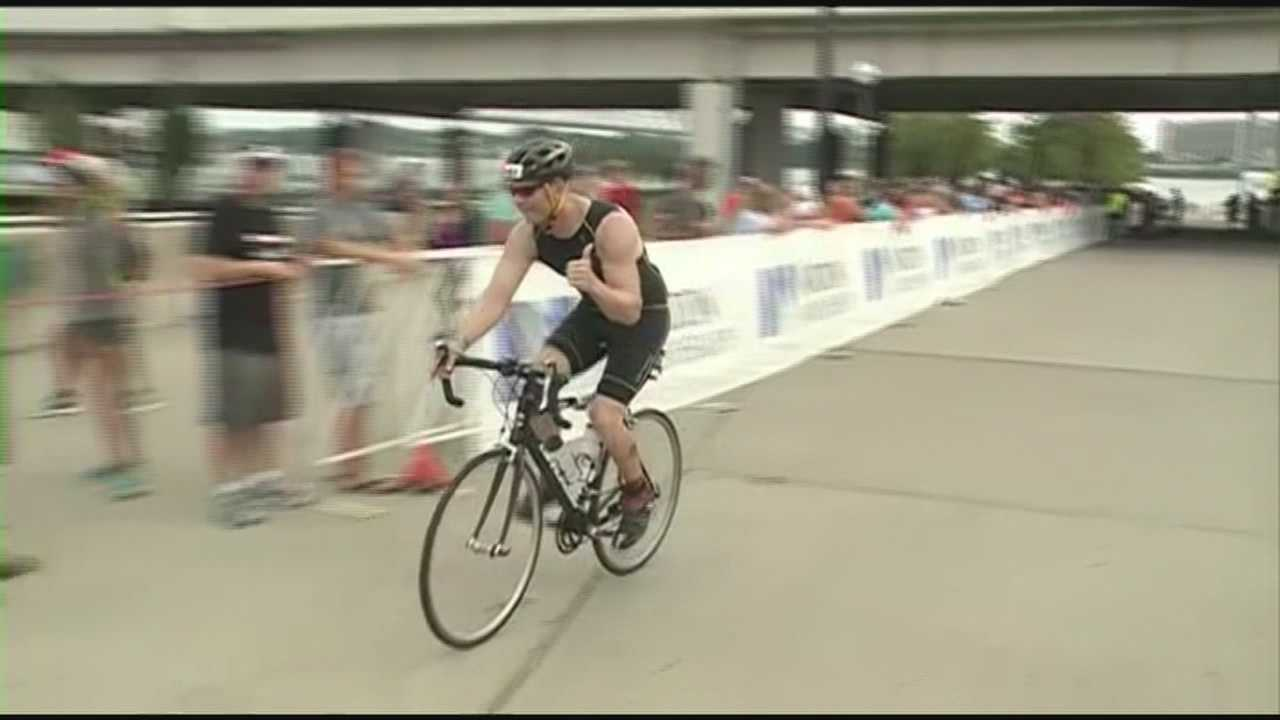 One Ironman Louisville participant was running the grueling triathlon to raise awareness for cancer research.