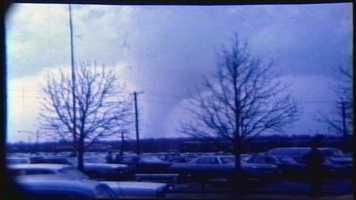 Images from Bill Dirksing's 8mm film of the Sayler Park tornado, shot from CVG.