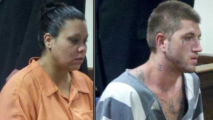 Maria Misquez and Dustin Watkins in court