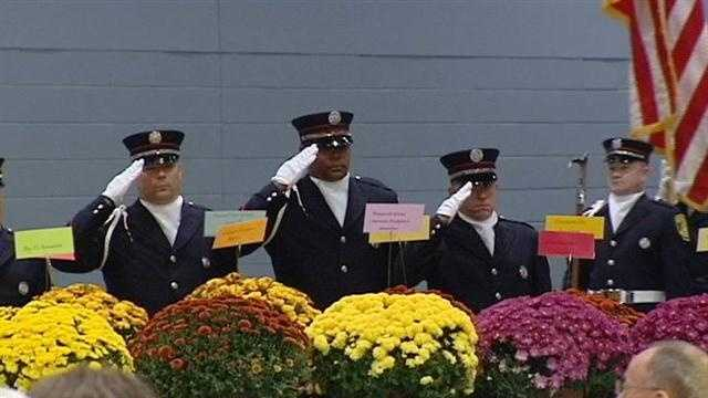 Firefighters pause to remember fallen comrades
