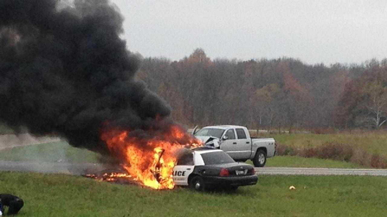Burning cop car