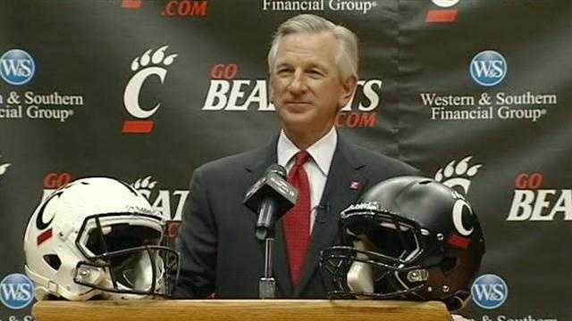 The press conference in which the University of Cincinnati president and athletic director introduce Tommy Tuberville as the new football head coach.