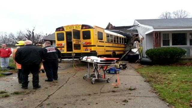 Crash forces bus off the road into a Fairfield home.