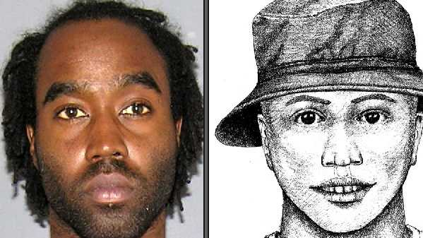 Darnell Dukes and a previously-released sketch of the flasher.