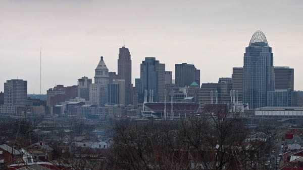 Cincinnati skyline cloudy day