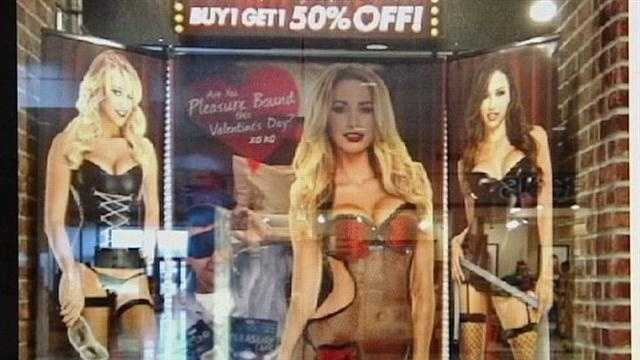 A racy display at Florence Mall has some parents blushing and rushing right past it.