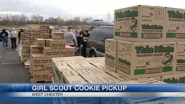 Girl Scout cookie pickup