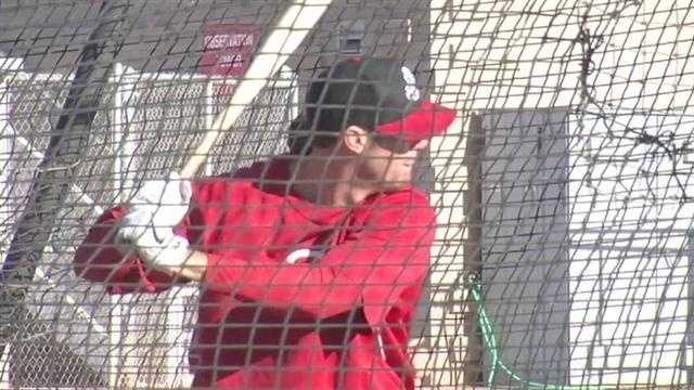 Ryan Ludwick takes batting practice.