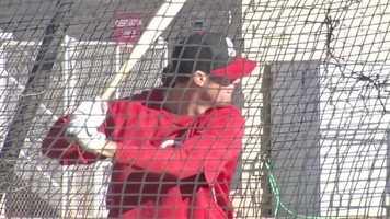 Ryan Ludwick takes batting practice.