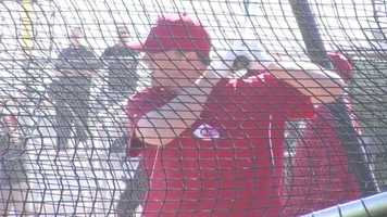 Jay Bruce during batting practice.