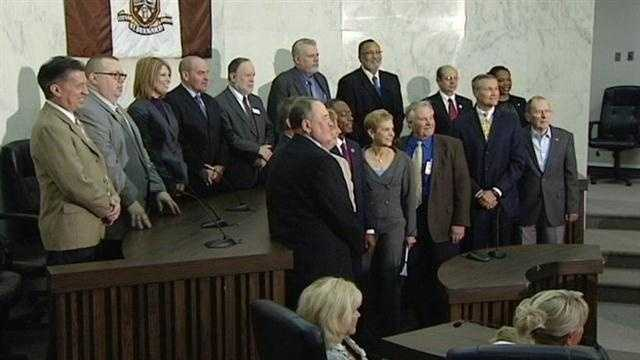 The mayor of Cincinnati and leaders from St. Bernard and other municipalities from around southwest Ohio were speaking out against a piece of legislation in Columbus.