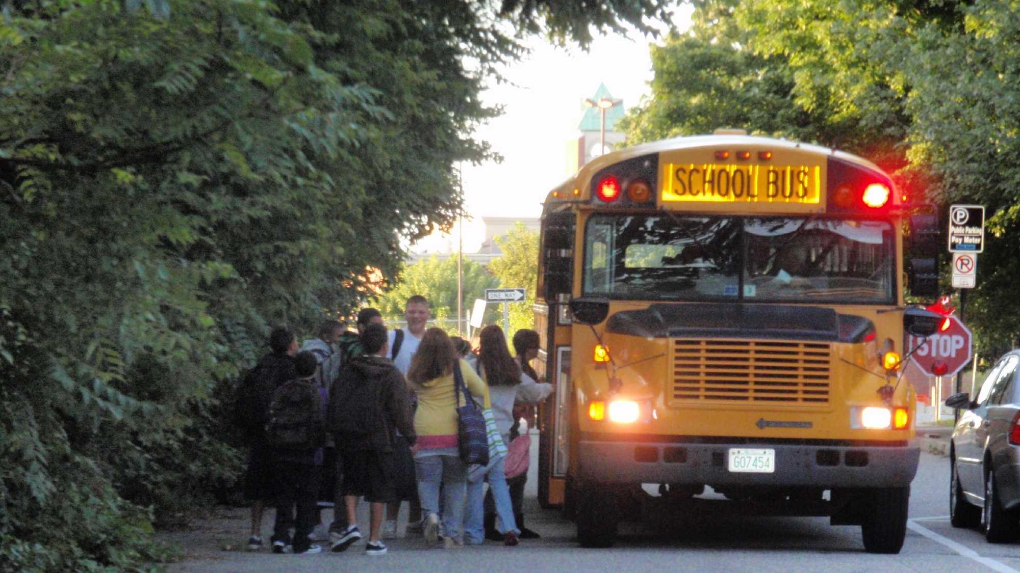 kids at school bus