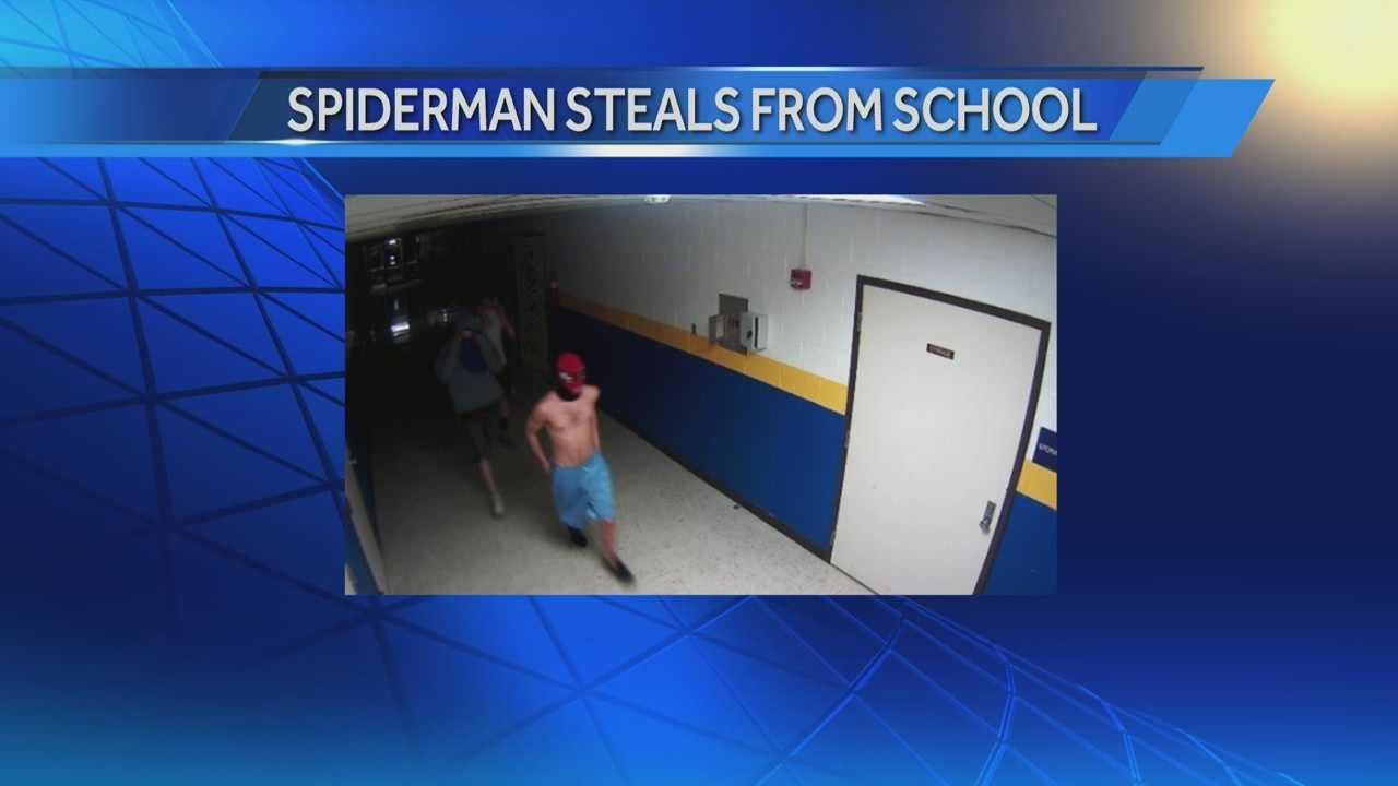 spiderman burglarizes ind high school