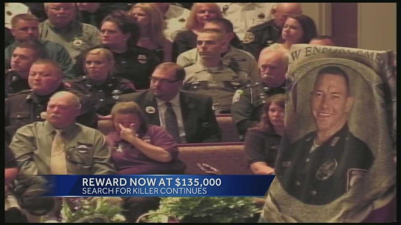 The reward being offered to find the the person responsible for killing Bardstown Police officer and Tri-State native Jason Ellis has risen to $135,000.