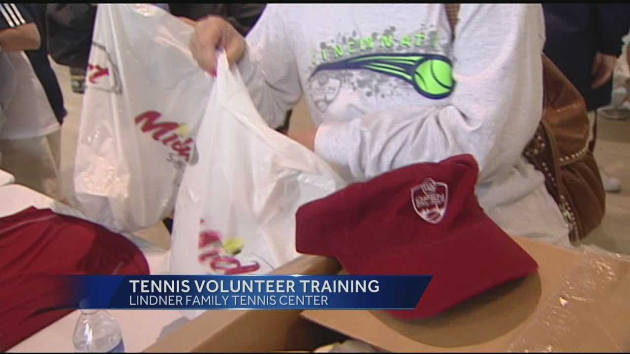 Hundreds of volunteers gathered Saturday morning to prepare for the Western and Southern Tennis Tournament.