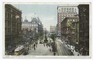 "Fountain Square ""may, perhaps, be called the business-centre of the city and from it start most of the tramway-lines."""