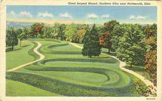 "For the ""scientific traveler,"" the guide recommends the Serpent Mound in Adams County, the largest serpent effigy in the world."