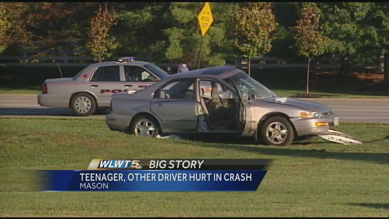 Two people were hurt in a two-car crash on Western Row Road on Friday morning.