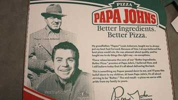 Papa John's is a national pizza chain with several dozen locations in the Tri-State