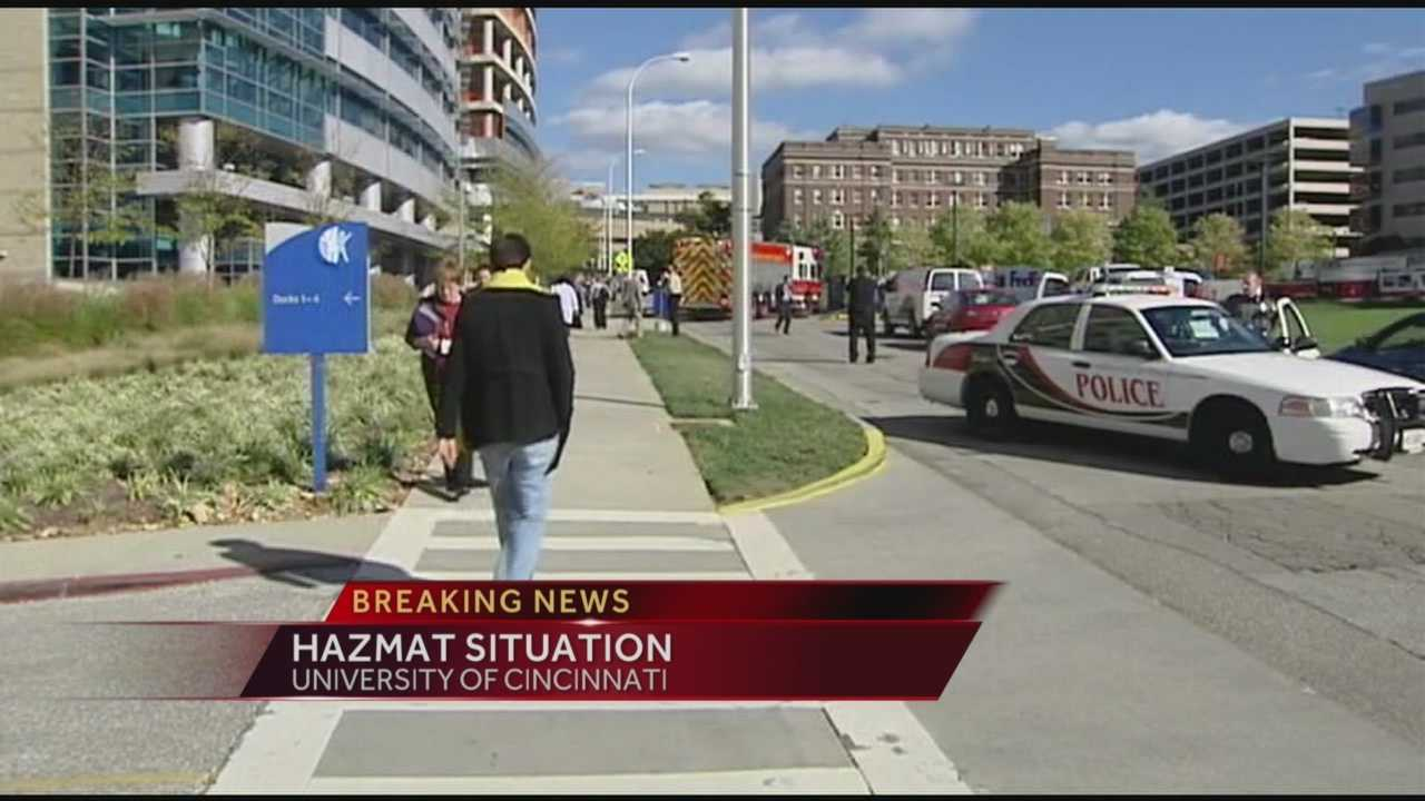 Fire and hazardous materials units were called Monday afternoon to University of Cincinnati's campus.