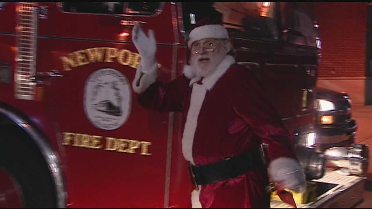 Santa rode the fire truck to deliver toys to girls and boys who might not otherwise receive gifts. For 20 years, the Newport firefighters have been helping Santa on Christmas Eve.