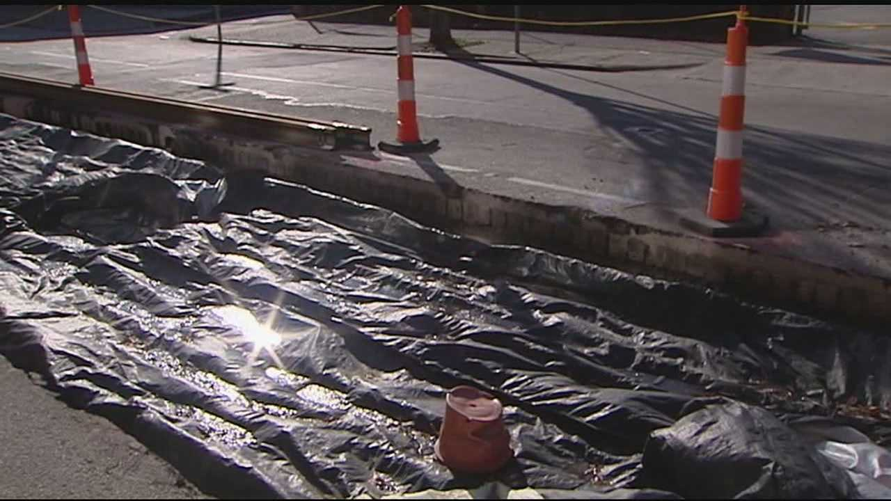 Installation of the rails on the $133 million streetcar line will resume Friday. Some crews were working Thursday morning cutting pipes and support material.