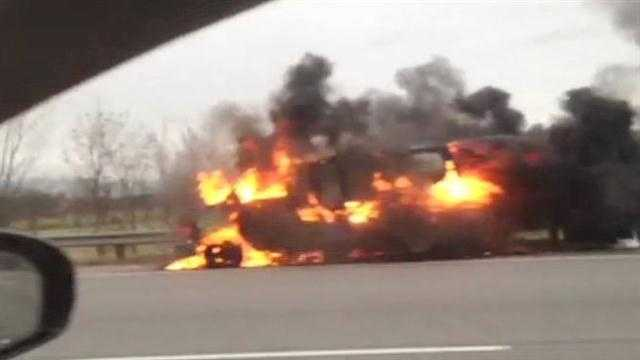 Viewer video: Car on fire on I-75