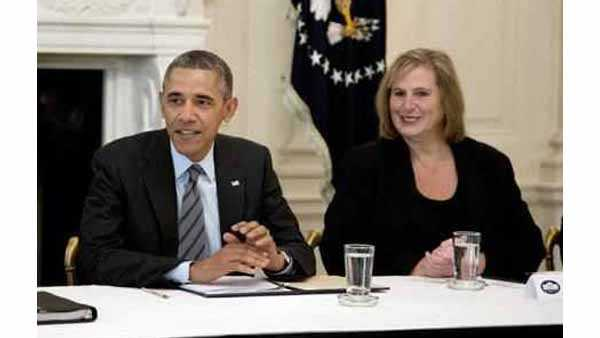 image: Anne Zimmerman with Obama