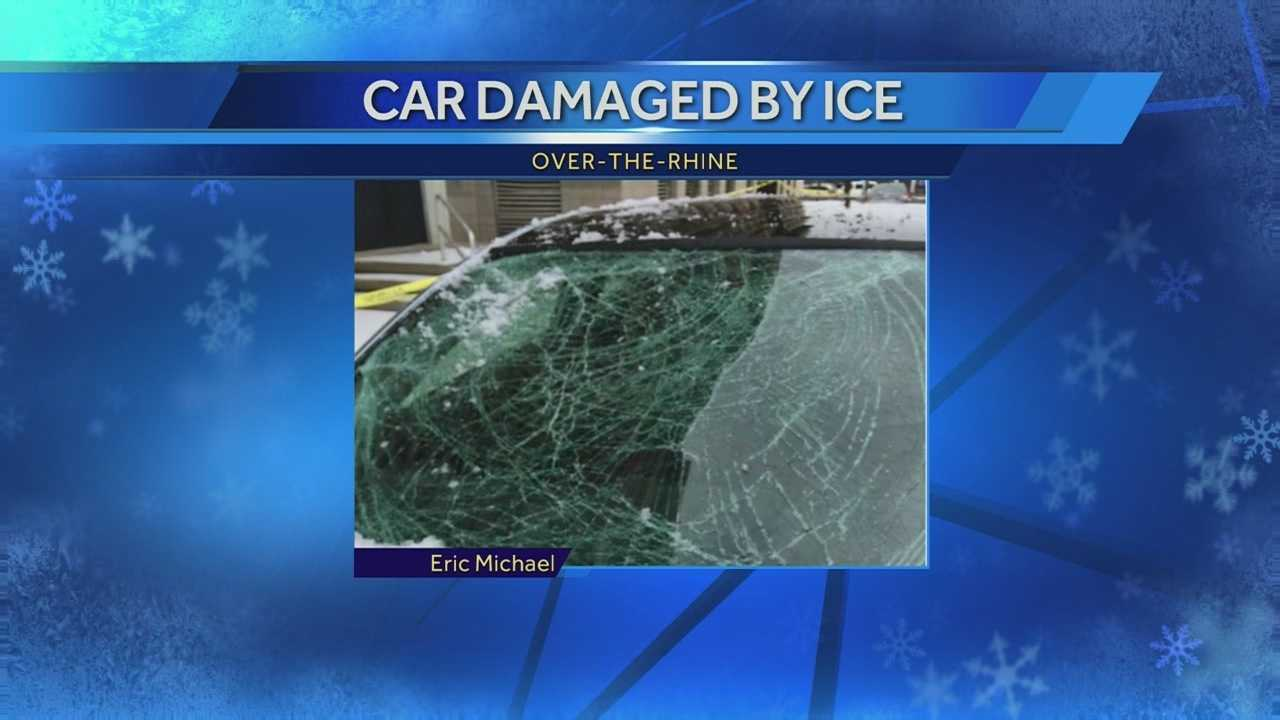 Falling ice poses threat to cars, pedestrians